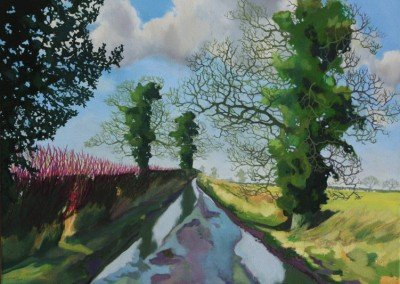 norfolk landscape painting Claire Cansick Puddle Lane