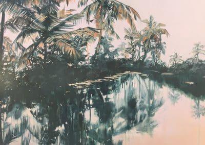 Lagoon - oil on gesso panel - 70 x 50 cm - 2018