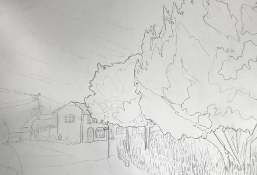 Halesworth drawing by Claire Cansick