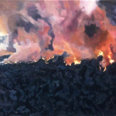 World's Aflame forest fire landscape painting