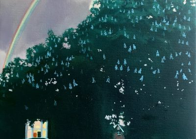 Horse Chestnut with Rainbow Hampstead painting by Claire Cansick