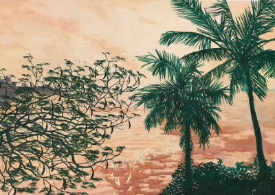 Black Locust and Palms India painting Claire Cansick