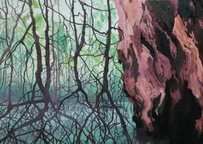 Mangroves Mountains Thailand Krabi painting Claire Cansick
