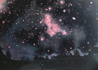 Night sky painting All Your Dreams Are Here by Claire Cansick