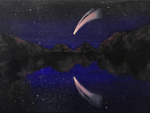 Neowise Descending small oil painting by Claire Cansick