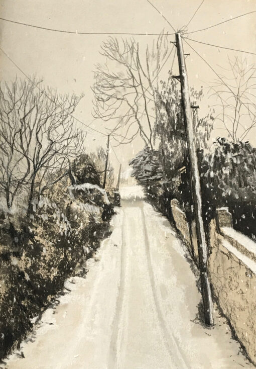 Back Lane artist support pledge drawing by Claire Cansick