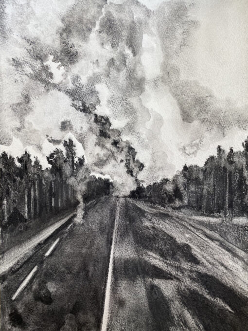Charcoal drawing of a forest fire on both sides of a road by Claire Cansick