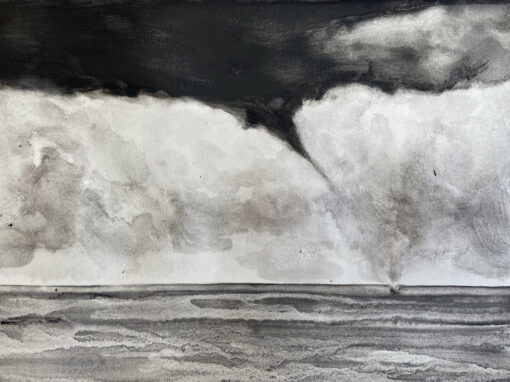 Charcoal drawing of a waterspout storm cloud over the sea
