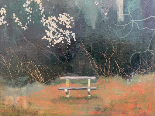 Dreaming Some thing Somewhere painting detail of the bench