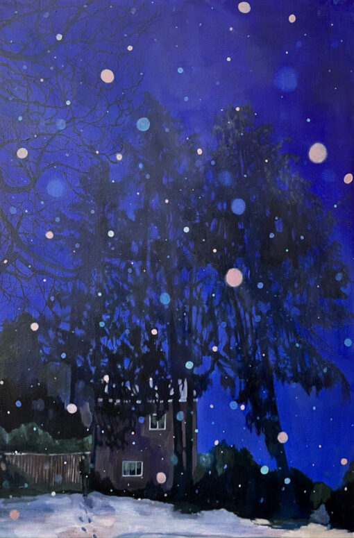Dark Corner First Snow ultramarine snow painting by Claire Cansick