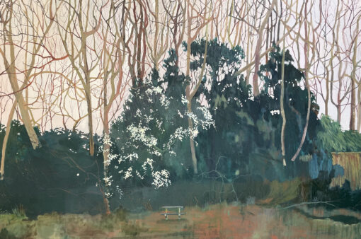 Dreaming Some thing Somewhere oil painting of a park bench and blackthorn