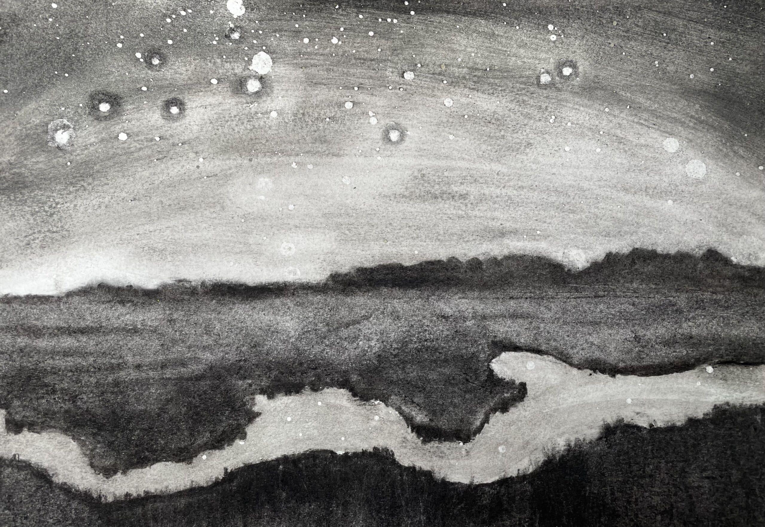 Stiffkey VI charcoal drawing