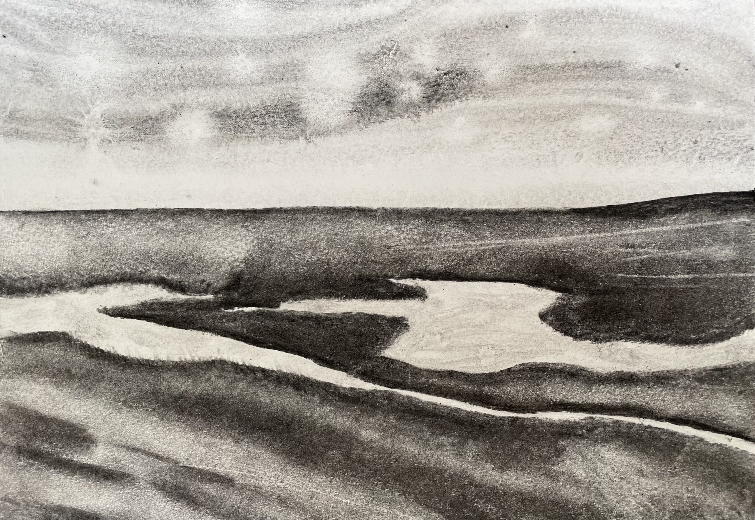 Stiffkey V saltmarsh charcoal drawing